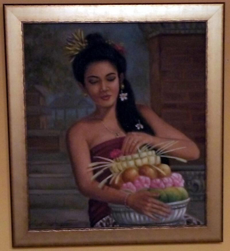 Balinéz falusi lány - festmény